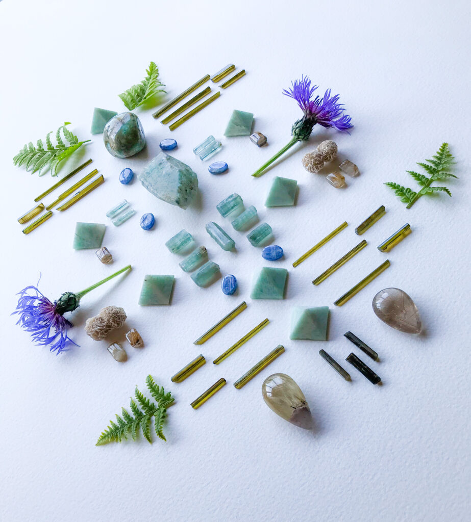 Ajoite Quartz, Blue Andean Opal, Amazonite, Aquamarine, Dravite, Kyanite, Rutile Quartz, Desert Rose, Fern and Centaurea montana