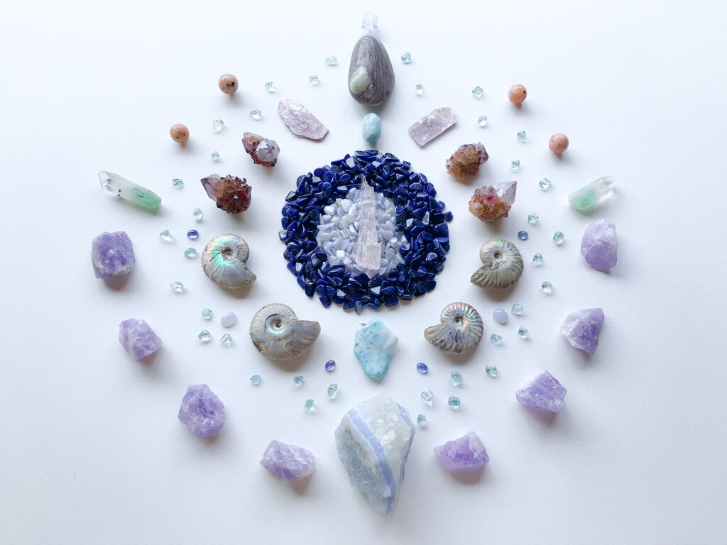 Kunzite, Blue Lace Agate, Lapis Lazuli, Larimar, Ammonite, Cactus Amethyst, Lepidolite, Aroha Stone, Dumortierite in Quartz, Tanzanite, Aquamarine, Lavender Amethyst, Fuchsite in Quartz and Pink Calcite