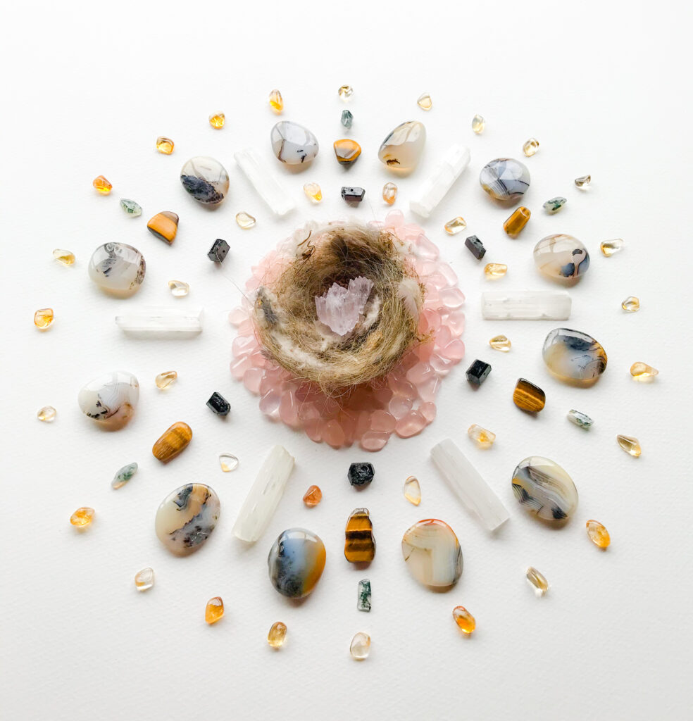 Kunzite, Rose Quartz, Selenite, Schörl, Citrine, Tiger Eye, Montana Agate, Moss Agate and a deserted Bird's nest found