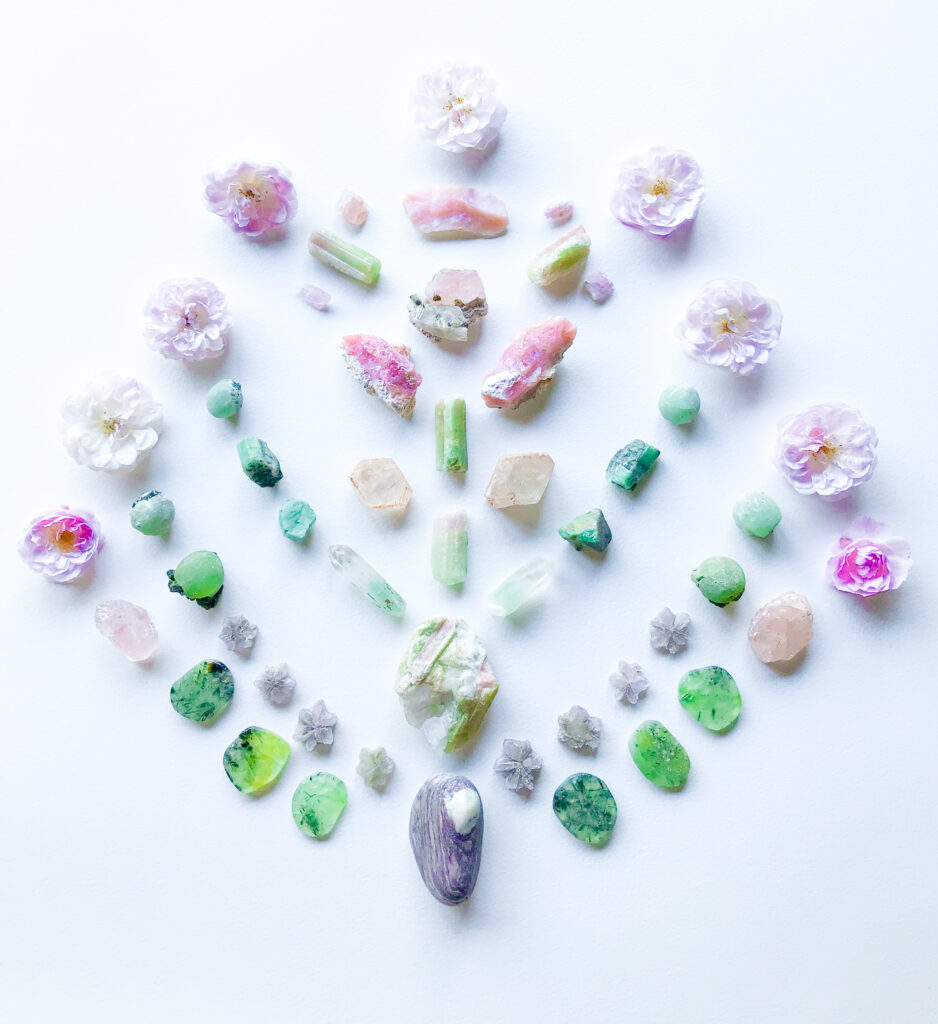 Morganite, Pink Andean Opal, Tourmaline, Fuchsite in Quartz, Emerals, Tourmaline in Quartz, Aragonite, Prehnite with Epidote, Aroha Stone with Rose from our garden