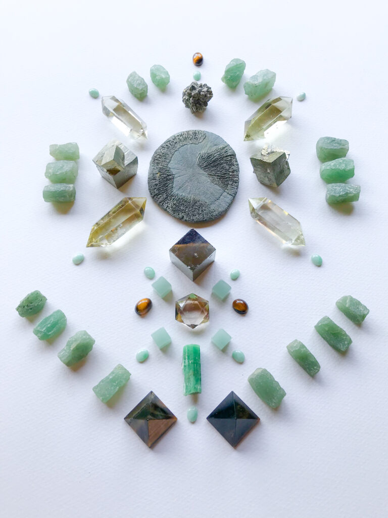 Pyrite, Citrine, Jade, Aventurine, Tiger Eye and Emerald