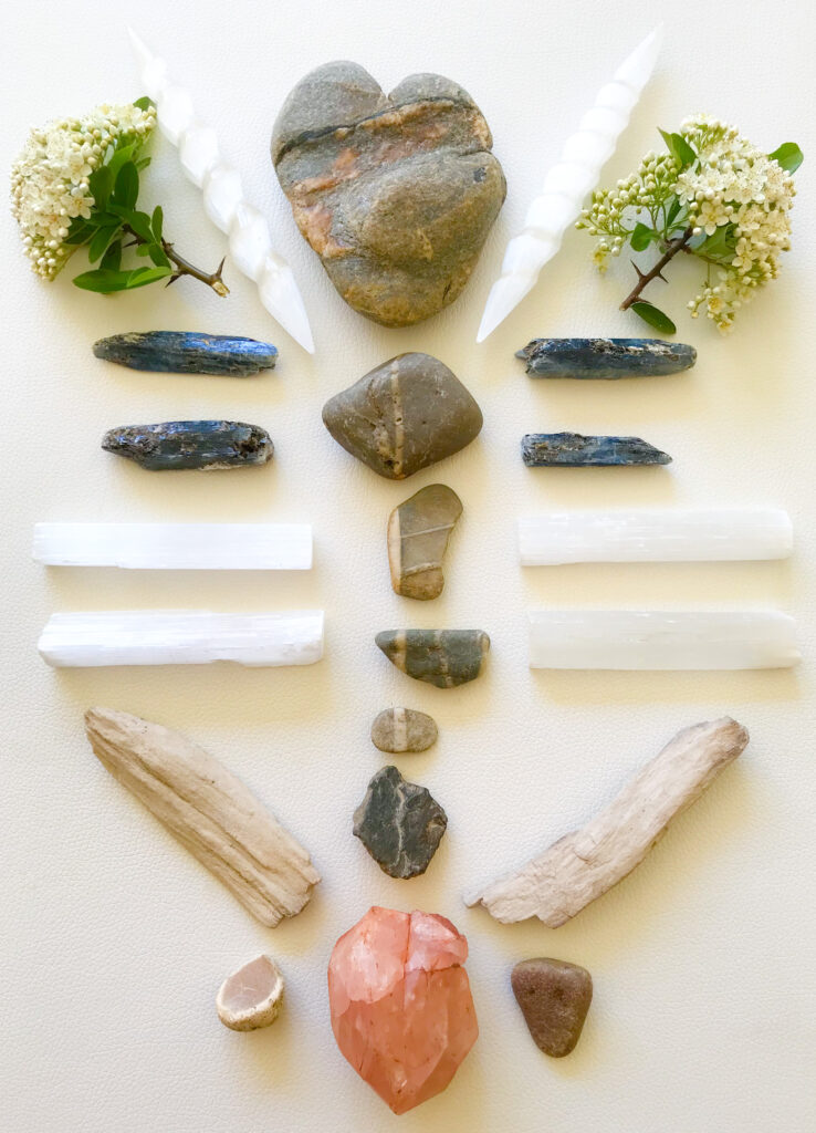 Natural heart-shaped stone with Hematite and Quartz veins received, Stones found on the daily confinement walks through the woods, Morganite, Kyanite, Selenite, Petrified Wood and Blossoms with Thorns of the Firethorn