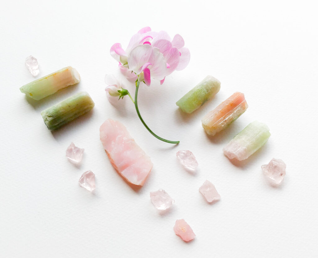 Pink Andean Opal, Rose Quartz, Bi-colour Tourmaline, Lathyrus