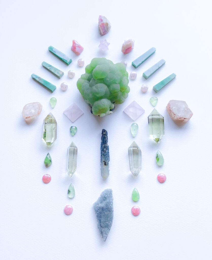 Prehnite with Epidote, Prasem Quartz, Prehnite with Quartz, Titanite and Adularia combined, Citrine, Rose Quartz, Rodochrosite, Chrysoprase, Morganite and Pink Andean Opal