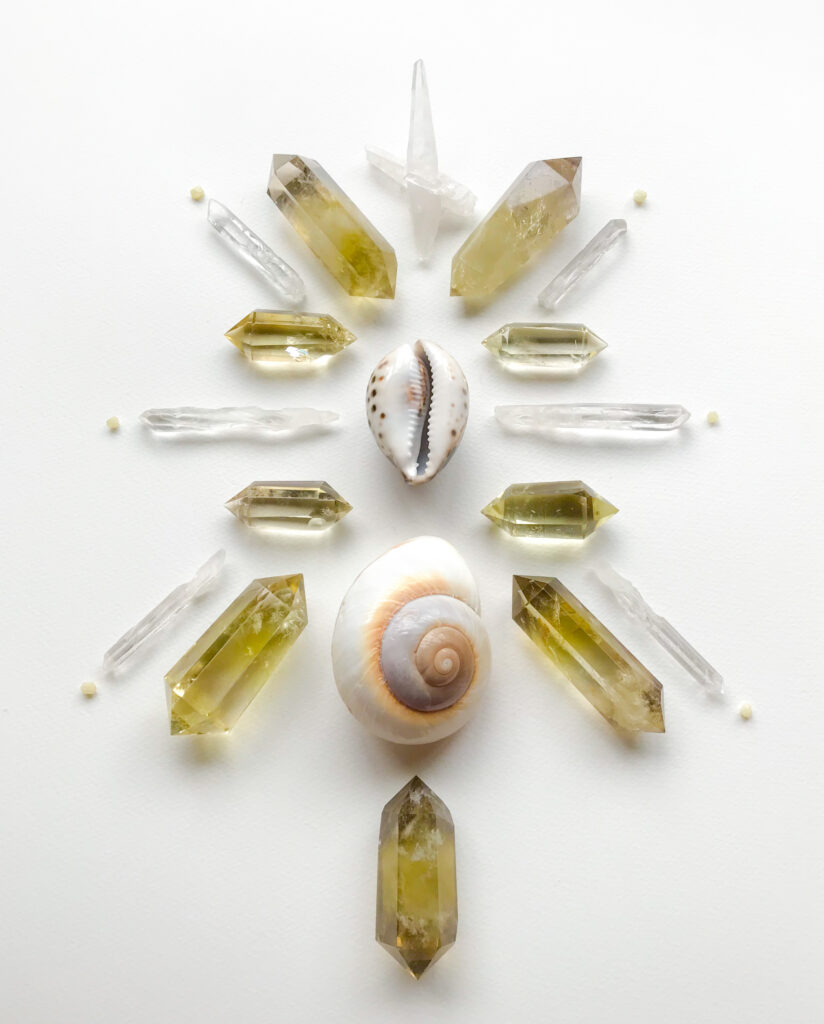Citrine, Quartz, Rhodizite, Cowry Shell and another lovely Shell