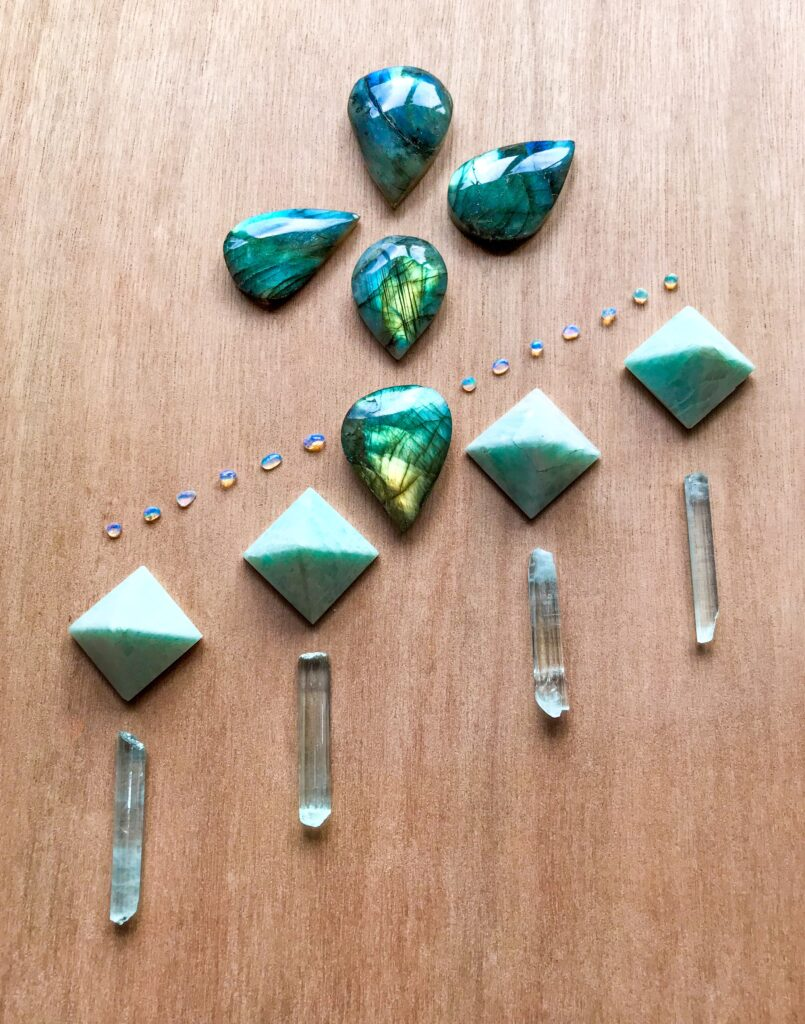 Labradorite, Amazonite and Aquamarine