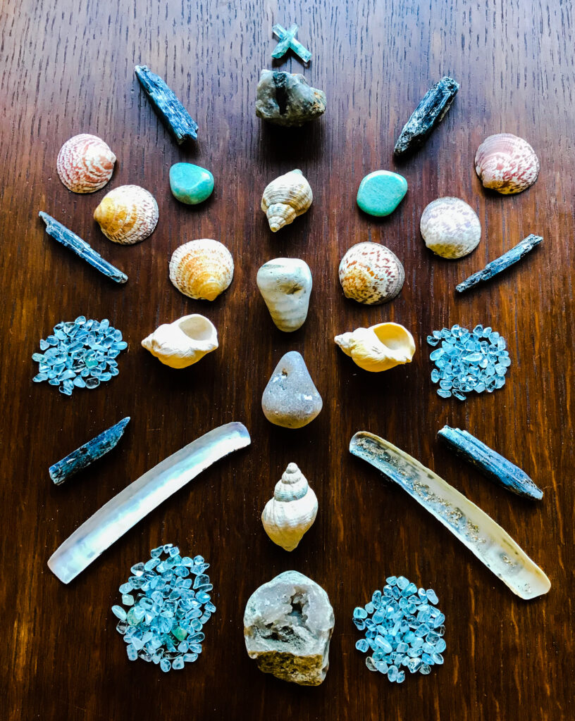 Quartz, Chalcedony, Agate, Tourmaline and Mica in Quartz, Shells - all sacred gifts from a precious friend, Amazonite, Aquamarine, and Kyanite