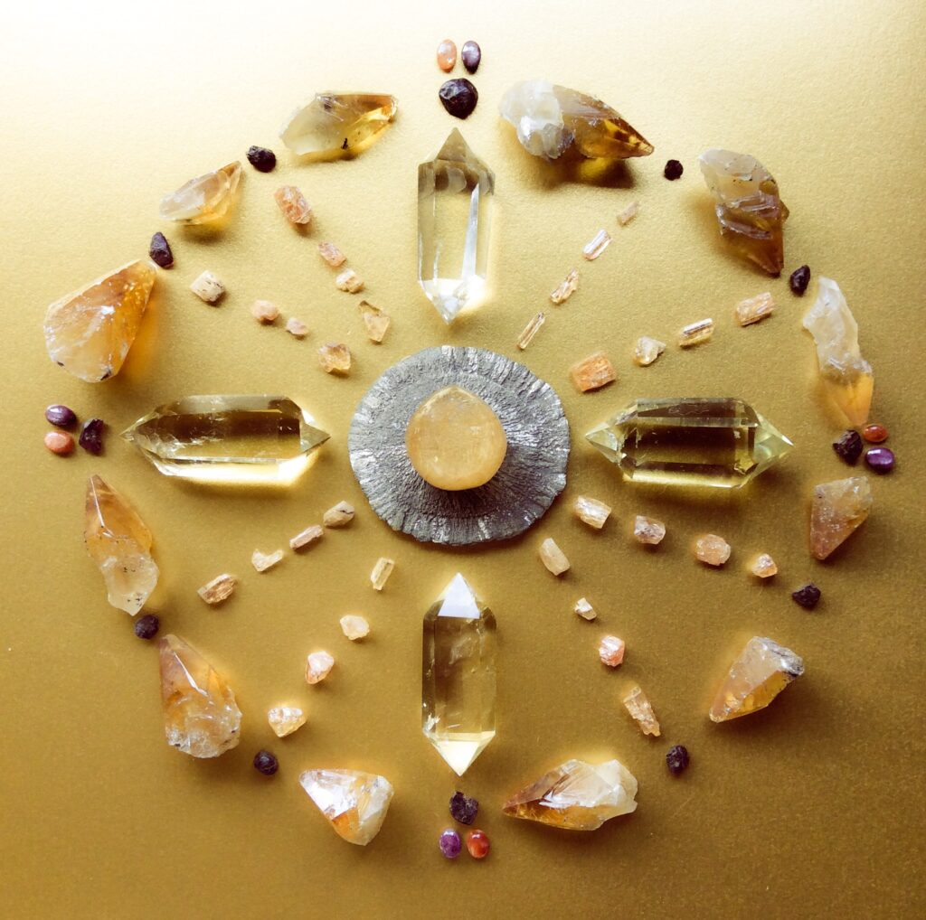 Rutile Quartz, Pyrite Sun, Citrine, Imperial Topaz, Garnet, Star Ruby, Sunstone, Honey Calcite