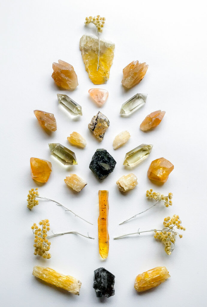 Opal, Epidote, Citrine, Honey Calcite, Dendritic Quartz, Fluorite and Helichrysum