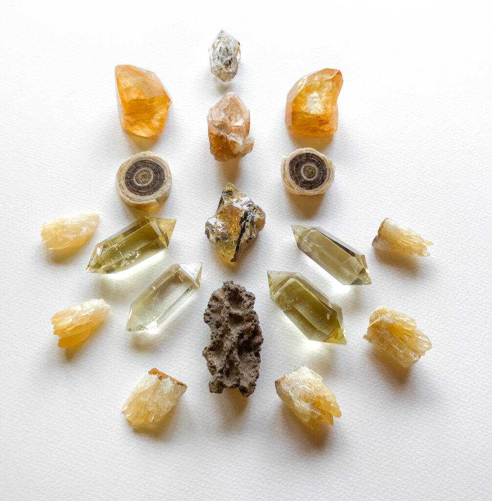 Ethiopian Opal, Fulgurite, Elestial Fenster Quartz, Herkimer Diamond, Honey Calcite, Aragonite, Citrine