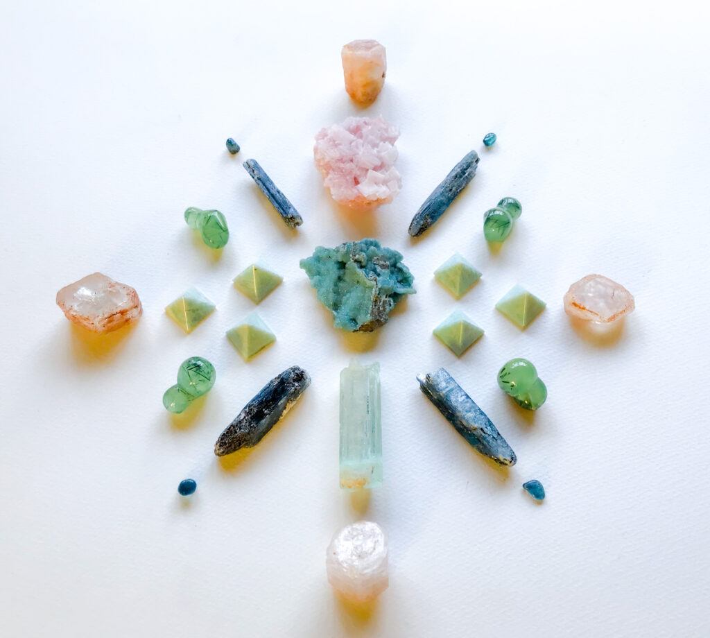 Smithsonite, Halite, Amazonite, Kyanite, Aquamarine, Morganite, Prehnite with Epidote and Indicolite