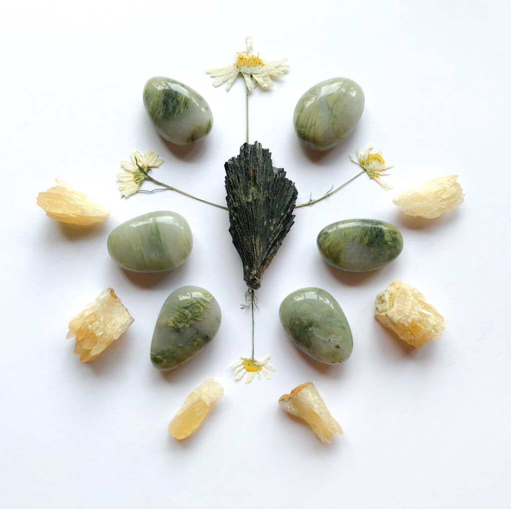 Epidote, Chlorite Quartz, Honey Calcite, Dried Chamomile
