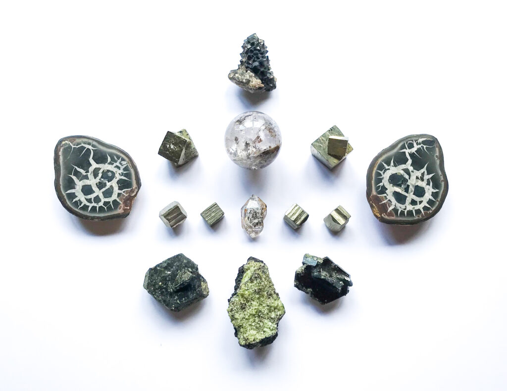 Herkimer Diamond, Inclusions Quartz, Pyrite, Olivine on Matrix, Morion Quartz, Epidote, Septarian