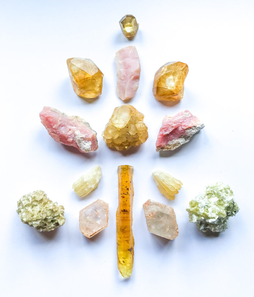 Honey Calcite, Pink Andean Opal, Amber, Morganite, Star Muscovite