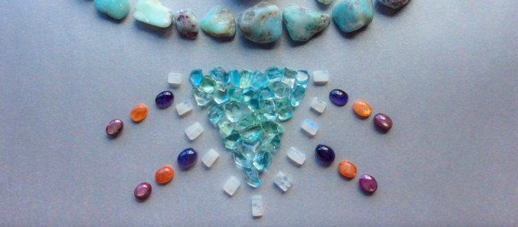 Fenster Elestial Lightkeeper Quartz, Opal, Star Ruby, Larimar, Aquamarine, Moonstone, Iolite and Sunstone