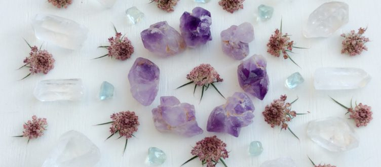 Tibetan Amethyst, Aquamarine, Quartz and Carrot flowers