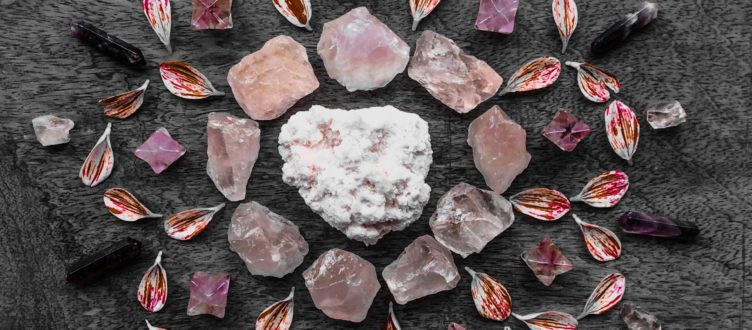 Rodochrosite, Rose Quartz, Amethyst and Dahlia petals
